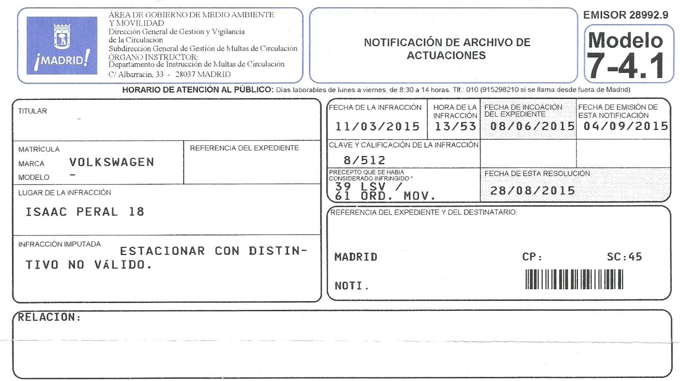 Anulación de una multa del SER de Madrid por un error en la ...