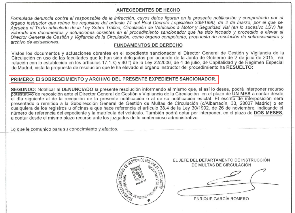 Notificación de Archivo de Actuaciones - Resolución