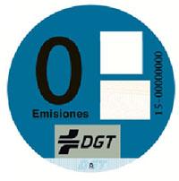 Pegatina vehículos clasificación 0 emisiones