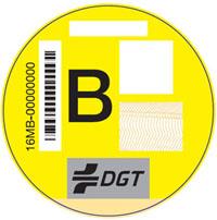 Pegatina vehículos clasificación B.