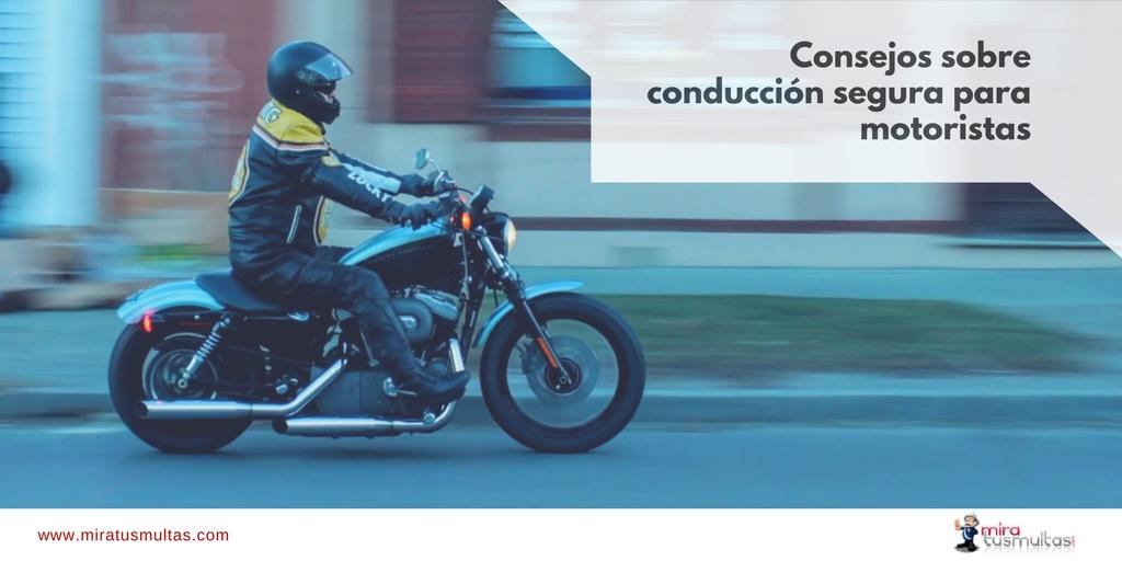 Conducción segura para motoristas. Miratusmultas.com