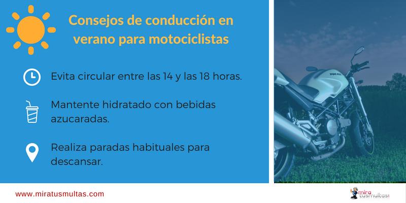 Consejos de conducción en verano de motociclistas. Miratusmultas