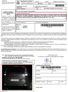 Modelo notificación multa de velocidad.