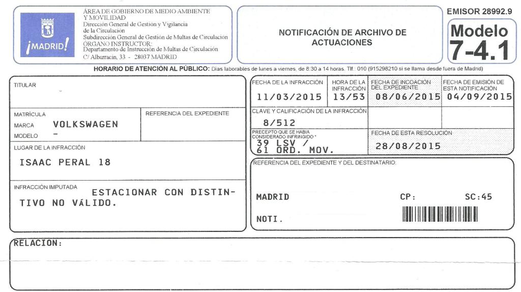 Notificación de Archivo de Actuaciones